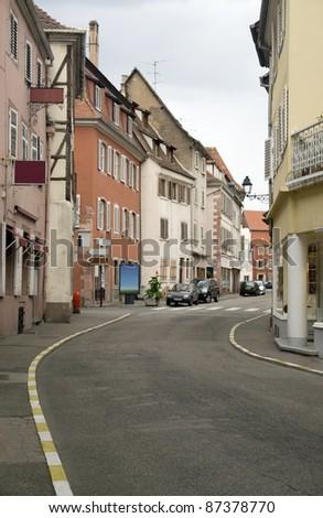clouded street scenery in Selestat - stock photo