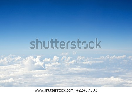 Clouds, a view from airplane window - stock photo
