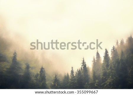Clouds and fog over pine tree forest painted style - stock photo
