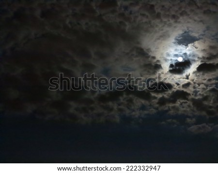 clouds and moon at the night - stock photo