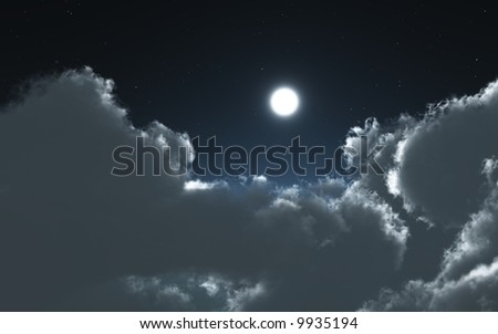 clouds and moon in the night - stock photo