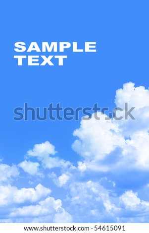 Clouds and space for your own text above - stock photo