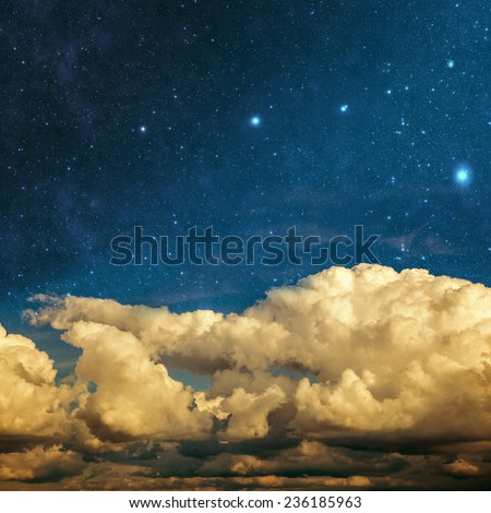 clouds and stars on a textured vintage paper  background Elements of this image furnished by NASA - stock photo