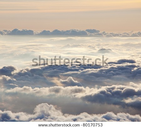 clouds at dusk - stock photo