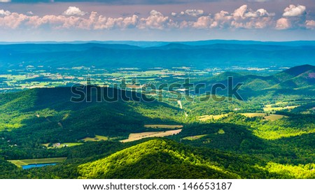 Clouds cast shadows over the Appalachian Mountains and Shenandoah Valley, seen from Shenandoah National Park, Virginia - stock photo