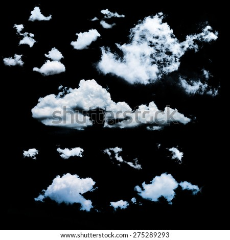 clouds collection on black background . isolated element. - stock photo