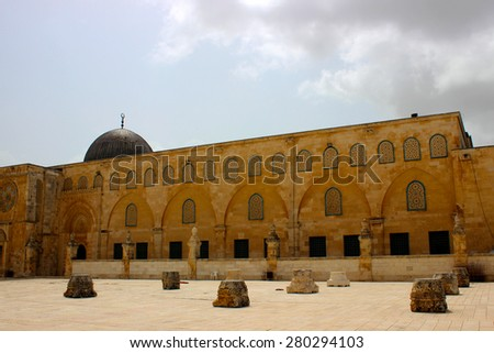 Clouds coming to the Al Aqsa Mosque viewed from the Temple Mount in Jerusalem, Israel - stock photo