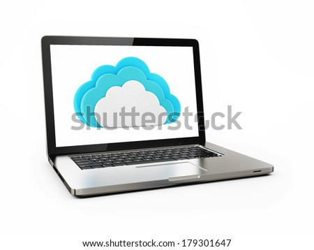 Clouds Computing Concept Laptop Connecting on White Background  - stock photo