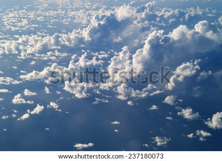 Clouds from airplane - stock photo