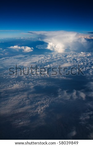Clouds from the air plane - stock photo
