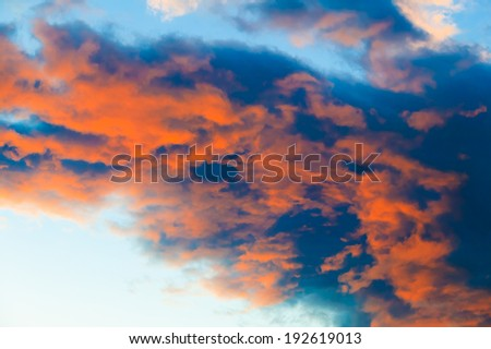 Clouds glowing red from the sunset, Stowe, Vermont, USA - stock photo