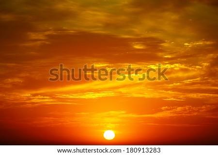 Clouds illuminated by sunlight. Sunset.                                     - stock photo