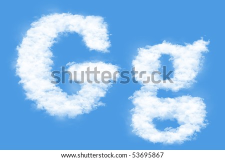 Clouds in shape of the letter G - stock photo