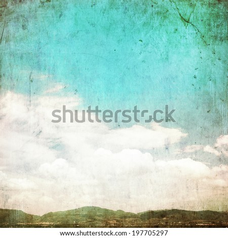 Clouds in summer blue sky - vintage edit. - stock photo