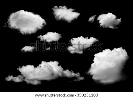 clouds isolated on black background - stock photo