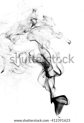 clouds of smoke on a white background - stock photo