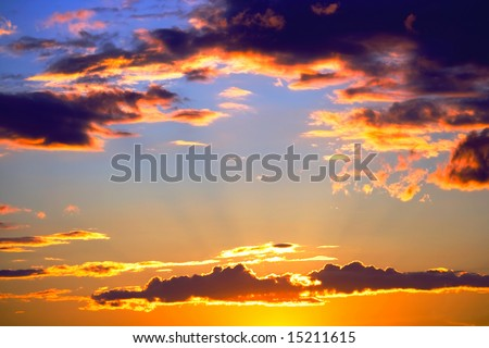 clouds of sunset - stock photo
