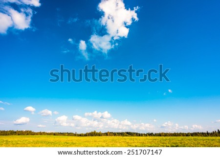 Clouds on the meadow - stock photo