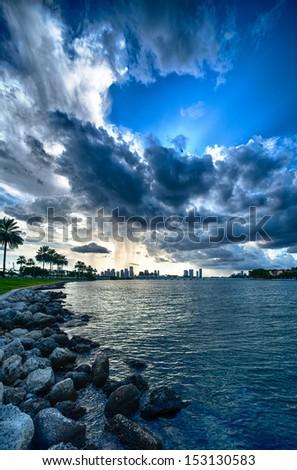 Clouds over the Atlantic ocean, Miami, Miami-Dade County, Florida, USA - stock photo