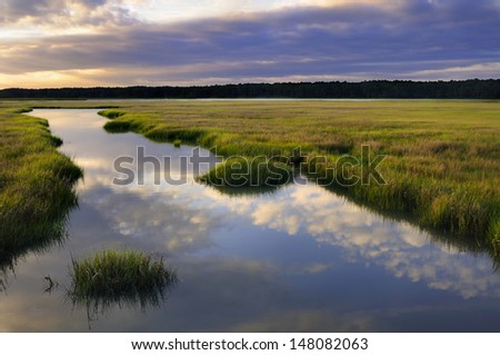 Clouds Reflecting in Water - stock photo