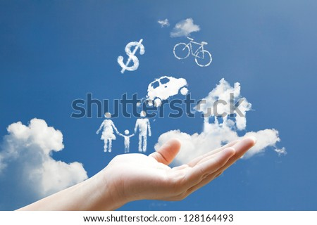 clouds shape floating on hand - stock photo