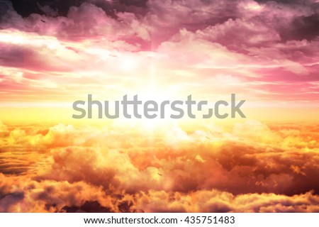 Clouds. Top sky with clouds at sunset or sunrise.  - stock photo