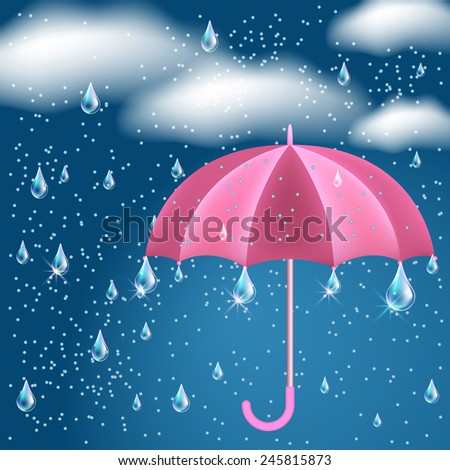 Clouds with rain in the dark blue sky and opened umbrella - stock photo