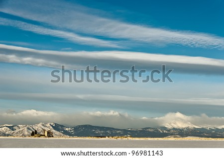 Cloudscape Above The Colorado Foothills and Longs Peak - stock photo
