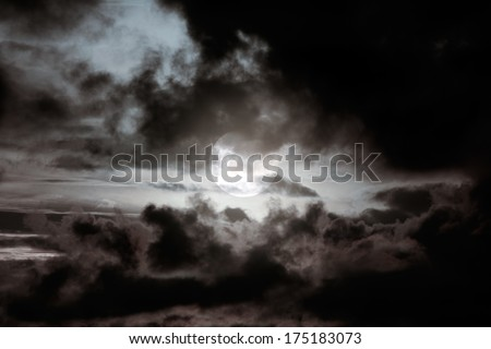 Cloudscape in a night full moon - stock photo