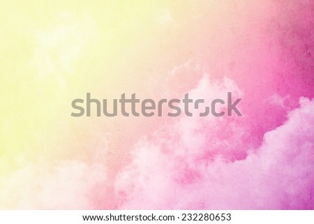 cloudscape with yellow to pink gradient color on grunge texture - stock photo