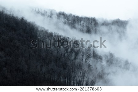 Cloudy Appalachian Mountains - stock photo