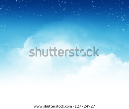 Cloudy blue sky with stars abstract background - stock photo