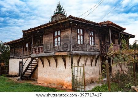 Cloudy day at Brashlyan village, near Malko Tarnovo, Bulgaria. - stock photo