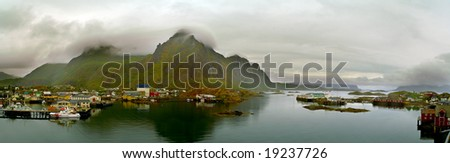 Cloudy day in Svolvaer, Lofoten Islands, North Norway - stock photo