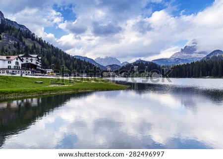 Cloudy day of Lake Misurina in Dolomite, Italy  - stock photo
