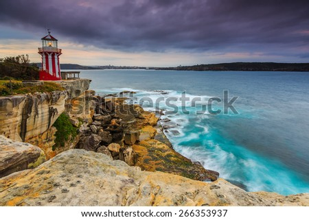 Cloudy morning seascape at the hill. - stock photo