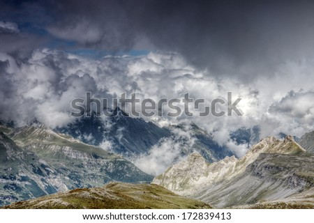 Cloudy mountains in Grossglockner region  - stock photo