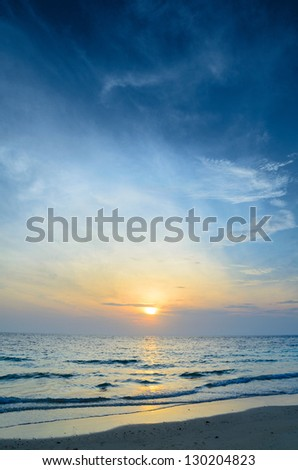 cloudy seascape at sunny day - stock photo