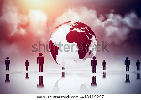 Cloudy sky against human figures surrounding earth graphic - stock photo