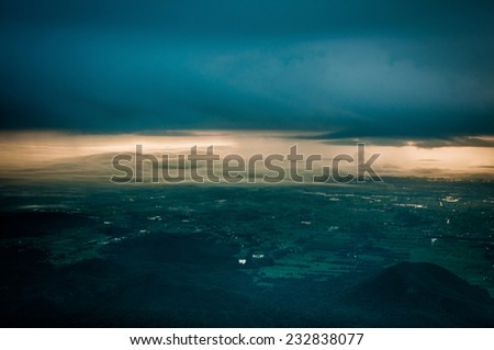 cloudy sky and city landscape - stock photo