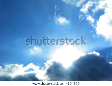 cloudy sky and sun - stock photo