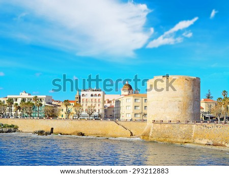 cloudy sky over Alghero, Sardinia - stock photo