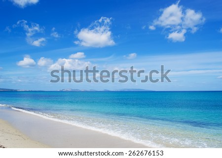cloudy sky over Fiume Santo beach, Sardinia - stock photo