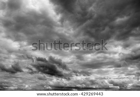 Cloudy sky over horizon. Storm clouds before a thunderstorm. - stock photo