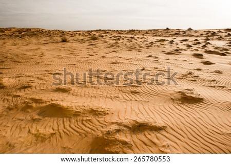 Cloudy sky over the dunes of the Sahara desert, Senegal, Africa - stock photo