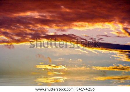cloudy sky under water - stock photo