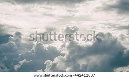 Cloudy stormy dramatic sky background, Dark ominous grey storm clouds, Abstract dark background, The rain clouds were formed, Dark clouds - stock photo