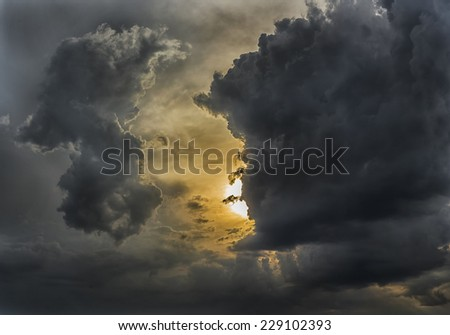 Cloudy stormy  dramatic sunset sky background  - stock photo