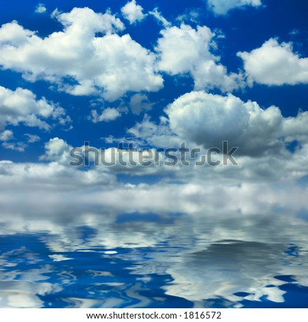 Cloudy summer seascape background - stock photo