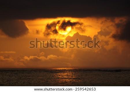 Cloudy Sunset at Kuta Beach, Bali, Indonesia - stock photo